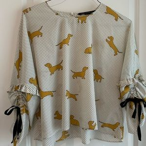 Zara Women Dachshund Sausage Dog Top Blouse XL